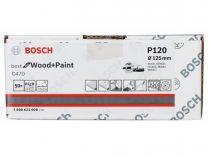 50x Brusný papír do excentrické brusky Bosch C470 - 125mm, zr.120, 40 otvorů