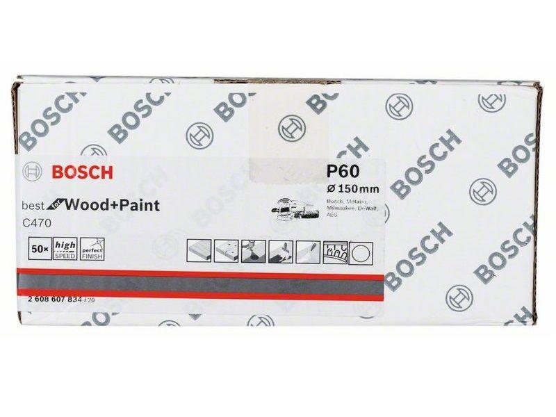 50x Brusný kotouč do excentrické brusky Bosch C470 - 150mm, zr.60, 6 otvorů (2608607834) Bosch příslušenství