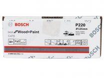 50x Brusný papír do excentrické brusky Bosch C470 - 125mm, zr.220, 40 otvorů