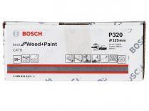 50x Brusný papír do excentrické brusky Bosch C470 - 125mm, zr.320, 40 otvorů