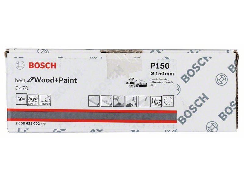 50x Brusný kotouč do excentrické brusky Bosch C470 - 150mm, zr.150, 6 otvorů (2608621002) Bosch příslušenství