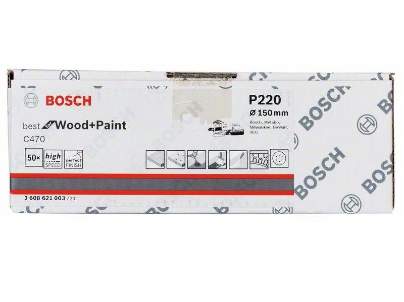50x Brusný kotouč do excentrické brusky Bosch C470 - 150mm, zr.220, 6 otvorů (2608621003) Bosch příslušenství