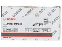 50x Brusný papír Bosch Best for Wood and Paint C470 125mm, hr.40