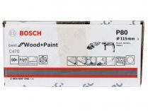 50x Brusný papír Bosch Best for Wood and Paint C470 115mm, hr.80