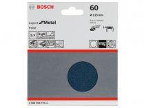 5x Brusný papír Bosch Expert for Metal F550 115mm, hr.60
