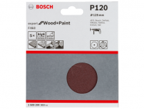 5x Brusný papír Bosch Expert for Wood and Paint F460 125mm, hr.120