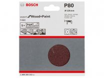 5x Brusný papír Bosch Expert for Wood and Paint F460 125mm, hr.80