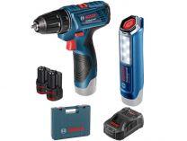 Sada aku nářadí Bosch GSR 120-LI + GLI 12V-300 + 2x aku 12V/2.0Ah + kufr