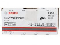 50x Brusný papír Bosch Best for Wood and Paint C470 93mm, hr.320