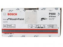 50x Brusný papír Bosch Best for Wood and Paint C470 93mm, hr.400