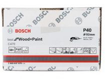 50x Brusný papír Bosch Best for Wood and Paint C470 93mm, hr.40