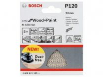5x Brusná mřížka Bosch Best for Wood and Paint M480 93mm, hr.120