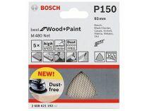 5x Brusná mřížka Bosch Best for Wood and Paint M480 93mm, hr.150