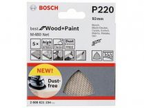 5x Brusná mřížka Bosch Best for Wood and Paint M480 93mm, hr.220
