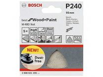 5x Brusná mřížka Bosch Best for Wood and Paint M480 93mm, hr.240