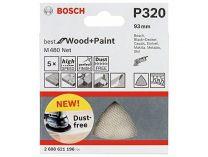 5x Brusná mřížka Bosch Best for Wood and Paint M480 93mm, hr.320