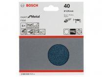 5x Brusný papír Bosch Expert for Metal F550 125mm, hr.40
