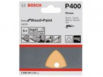 5x Brusný papír Bosch Best for Wood and Paint C470 93mm, hr.400