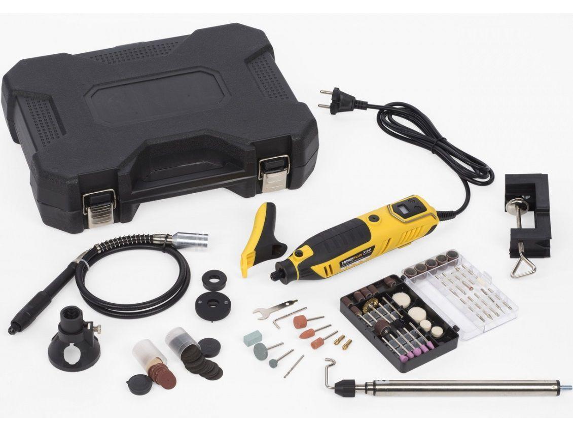 Přímá bruska s příslušenstvím PowerPlus POWX1341 - 200W, 10.000-40.000ot./min, 126ks brusných nástavců, v kufru (POWX1341) PowerPlus (VARO)
