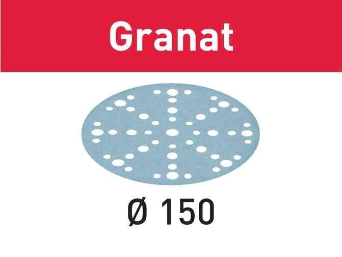 100x Brusný papír - brusivo pro brusky Festool RO 150, ES 150, ETS 150, ETS EC 150, LEX 150, WTS 150, HSK-D 150 (Festool Granat STF D150/48 P150 GR/100) 150mm, zr. 150 (575165)