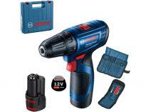 Bosch GSR 120-LI Professional - 2x 12V/2.0Ah, 30Nm, sada bitů, kufr, aku vrtačka bez příklepu