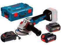 Bosch GWS 18V-10 Professional - 2x 18V/5.0Ah, 125mm, 2.1kg, kufr, bezuhlíková aku úhlová bruska