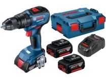 Bosch GSB 18V-50 Professional - 2x 18V/5.0Ah, 50Nm, kufr L-BOXX 136, bezuhl. aku vrtačka s příklepem