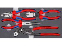 "Sada kleští ""Basic"" KNIPEX - 4ks, kombinované, půlkulaté, boční štípací, Cobra®"