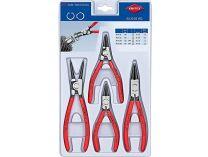 Sada kleští na pojistné kroužky KNIPEX - 4ks, běžné kleště pro vnitřní i vnější kroužky, v plastu