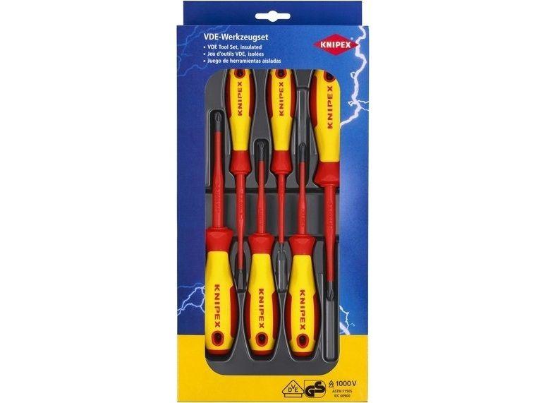 KNIPEX - 6-dílná sada elektrikářských S/PH/PZ VDE šroubováků, 1x plochý, 1x plochý slim, 4x křížový slim (002012V03)