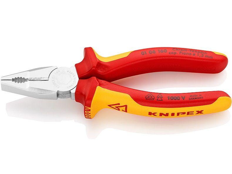 KNIPEX - kleště kombinované 160mm - dlouhé břity pro silnější kabely, VDE izolovaná vícesložková rukojeť, chrom (0106160)