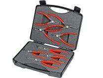 """Kufřík na nářadí KNIPEX """"SRZ""""- 260×80×210mm, 8ks běžných precizních kleští pro pojistné kroužky"""