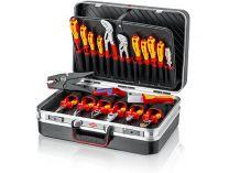 """Kufřík na nářadí KNIPEX """"Vision24"""" Elektro - 480×380×180mm, osazen 20 kusy značkového nářadí"""