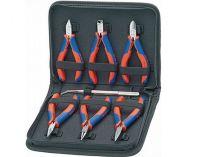 Pouzdro s kleštěmi pro elektroniku KNIPEX - 7-dílné, 6x kleště pro elektroniku, 1x precizní pinzeta