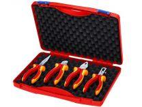 """KNIPEX - Sada kleští VDE Tool box """"RED"""" Electro Set 1 - 4ks, kombiniované, půlkulaté, boční štípací, odizolovací, plastový kufr (002015)"""