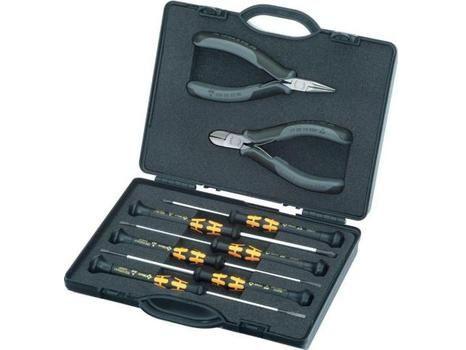 KNIPEX - Set s kleštěmi a šroubováky ESD pro elektroniku - 8-dílný, 2x kleště, 6x šroubovák, nárazuvzdorný box z plastu (002018ESD)