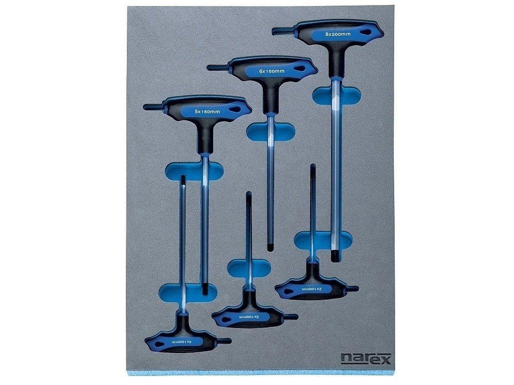 6 dílná sada zástrčných klíčů inbus s T rukojetí Narex (443001403) Narex Professional