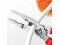 KNIPEX - kleště elektrikářské multifunkční - 6 funkcí - 200mm, s pojistkou (1382200T)