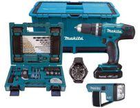 Makita DHP453SYLEX1 - 2x 18V/1.5Ah, 42Nm, příslušenství, kufr, aku vrtačka s příklepem + aku svítilna