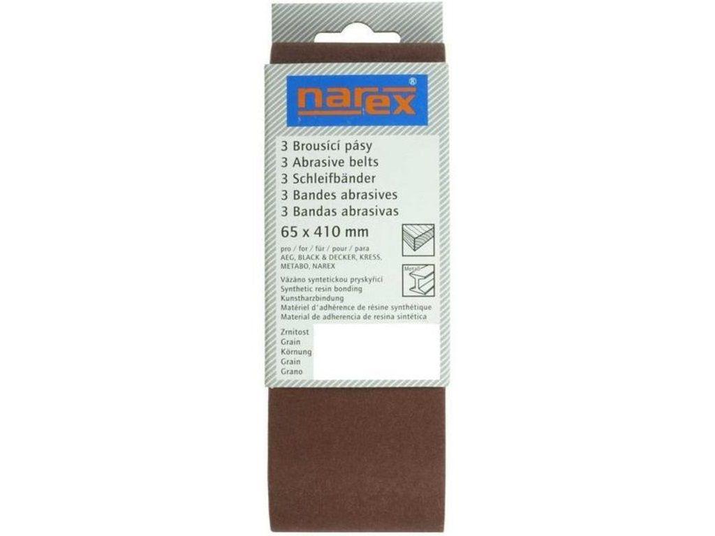 3x Brusný pás - brusivo pro pásovou brusku Narex SB-EBP 65x410mm, zr.100 (00618214)