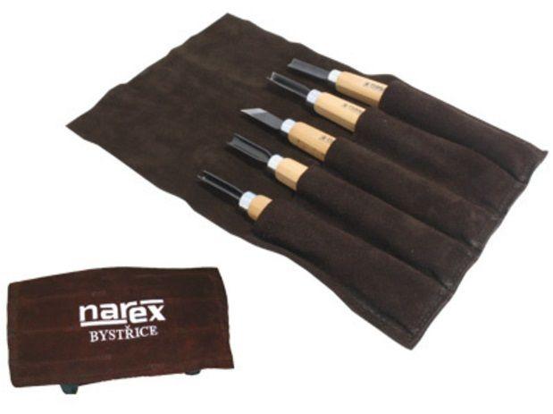 5-dílná sada řezbářských dlát v kapsáři pro začátečníky Narex START - kalená uhlíková ocel, buk (869300) Narex Bystřice