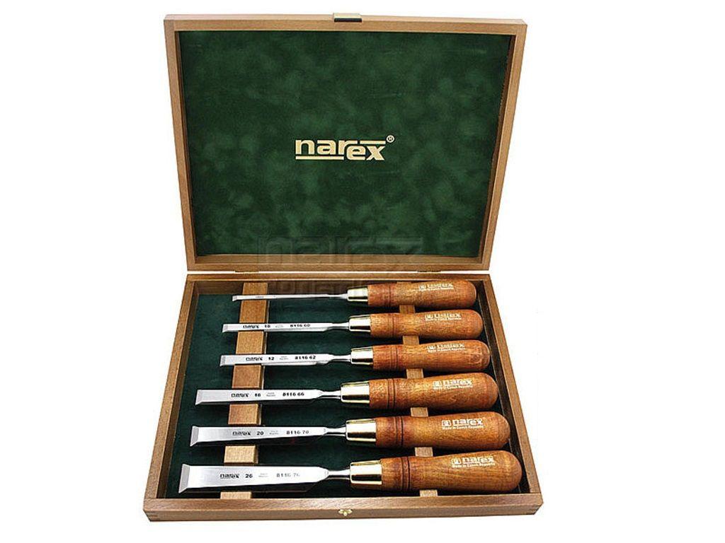 6-dílná sada premiových leštěných plochých truhlářských dlát v kazetě Narex WOOD LINE PLUS - chrom-manganová ocel (853250) Narex Bystřice