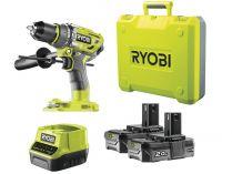 Ryobi R18PD7-220B - 2x 18V/2.0Ah, 1.1kg, kufr, bezuhlíková aku vrtačka s příklepem