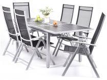 Creador Eliana 6+ sestava nábytku kov + ratan (1x stůl Raphael + 6x pol. křeslo Ralf Standard)