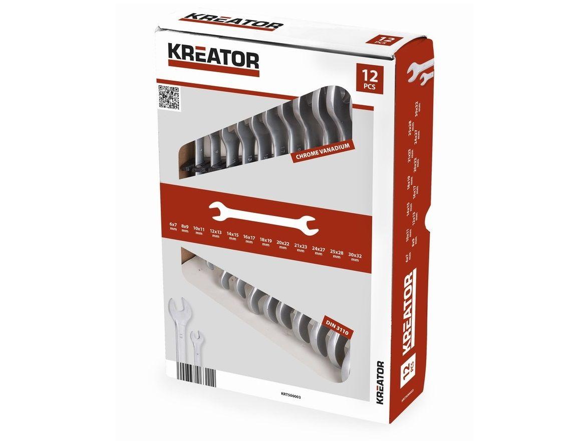 12 dílná sada maticových otevřených oboustranných klíčů v krabici KREATOR KRT500003 - 6-32mm, chrom-vanadová ocel, DIN 3110