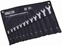 12 dílná sada očkoplochých klíčů v kapsáři KREATOR KRT500012 - 8-19mm, chrom-vanadová ocel, DIN 3113