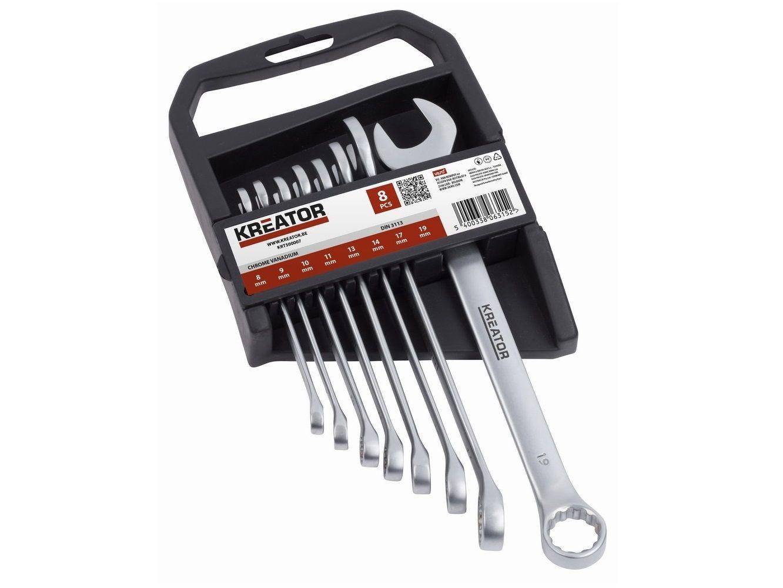 8 dílná sada (modul) očkoplochých klíčů KREATOR KRT500007 - 8-19mm, chrom-vanadová ocel, DIN3113