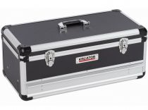 Hliníkový kufr s 1 zásuvkou KREATOR KRT640603B - 620x300x255mm, 5.9kg, černý