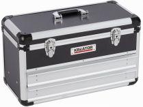 Hliníkový kufr se 2 zásuvkami KREATOR KRT640602B - 523x240x305mm, 6.14kg, černý