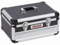 Hliníkový kufr s 1 zásuvkou KREATOR KRT640601B - 430x300x205mm, 4.42kg, černý